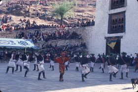 Laymen from the Uchu village in Paro with their characteristic foliage headdress: They perform the dance of Uchu (U chu gzhas), Paro Tshechu (tshe bcu), afternoon, 5th day