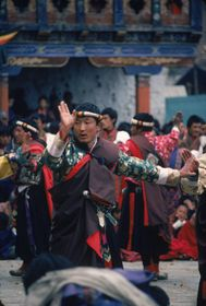 Dance to the glory of the 'Brug pa (chos gzhas) Royal Troupe, Paro Tshechu (tshe bcu), afternoon, 5th day