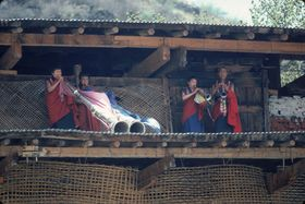 Monk Musicians playing the long trumps and oboes, Paro Tshechu (tshe bcu),