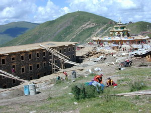 Construction of the new Visitors Hostel near the Gyutrul Temple [sgyu 'phrul lha khang]