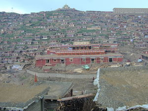 The new Assembly Hall for the Larung Gar Nunnery under construction beneath the Gyutrul Temple.