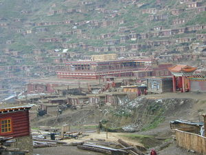 The new Assembly Hall ['du khang] for the Larung Gar [bla rung gar] Nunnery under construction.