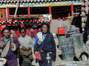 Tibetan nomads in front of the monastery store.