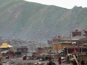 A view of the hillside with the Larung Gar [bla rung gar] nunnery from one side of the main Assembly Hall ['du khang].