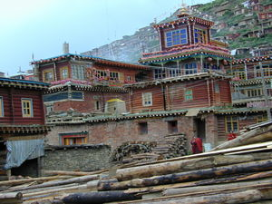 The side of the main Assembly Hall, with the fourth floor residence of Khenpo Jikme Phuntshok.