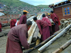 A group of monks loading logs onto a truck.