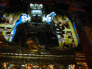A large statue of Padmasambhava.