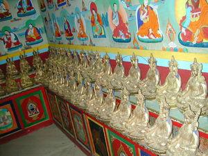 Rows of statues of Padmasambhava.
