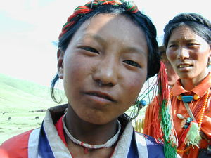 Close up of a nomad girl.