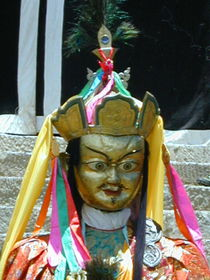 A close up of the Padmasambhava mask.