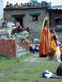 A view of the audience and the Padmasambhava dancer.