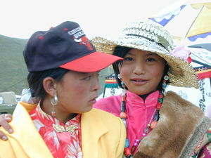 Two young Tibetan girls dressed up for the festival.
