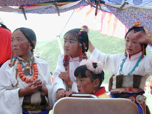 Dressed up young Tibetan girls.