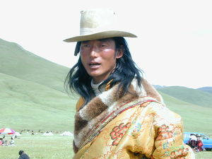 A long haired Tibetan nomad man.