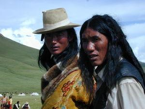 Two long haired Tibetan nomad men.