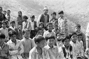 Children outside the Cokati school, mostly boys (Choukati, Nepal)