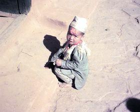 Village child after receiving tika at Dasein