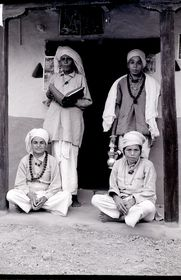 Giri (ascetic) women in front of their kuti (nunnery)