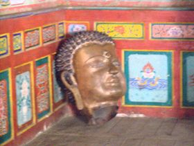 Head of statue being constructe at Lhagang Monastery
