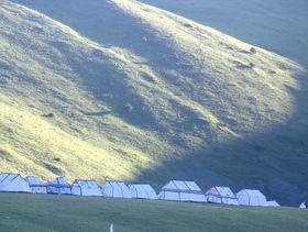 White nomadic tents near Lhagang Monastery