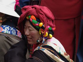 Nomad woman at the Lhagang Festival.