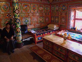 Tea room in hotelin Lhagang.