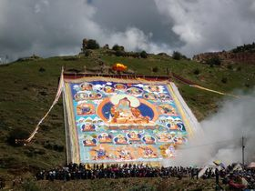 The large cloth tangka (<em>gos sku</em>) at Lo Monastery.