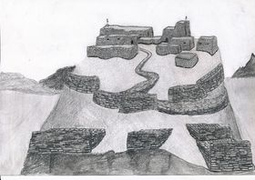 Type I.1a. An artist's conception of an all-stone corbelled citadel with staggered ramparts in the foreground (drawn by Kleo Belay)