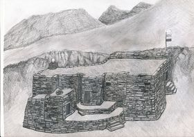 Type I.2a. An artist's conception of an all-stone corbelled residence built into a mountainside (drawn by Kleo Belay)