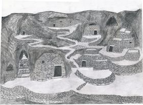 Type I.2c. An artist's conception of a residential complex built into caves with all-stone corbelled anterooms (drawn by Kleo Belay)
