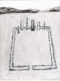 Type II.1b. Pillars erected within a quadrate enclosure; a reconstruction of the basal structural elements. View from the east (drawn by Kleo Belay)