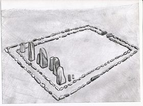 Type II.1b. Pillars erected within a quadrate enclosure; a reconstruction of the basal structural elements. View from the southwest (drawn by Kleo Belay)