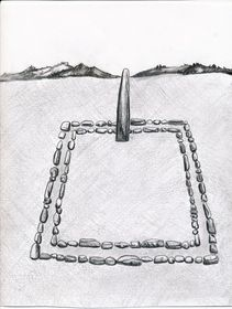Type II.1b. Pillar erected within a quadrate enclosure; a reconstruction of the basal structural elements. View from the east (drawn by Kleo Belay)