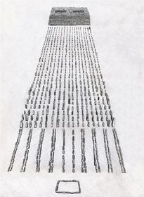 Type II.1c. Quadrate array of pillars with appended edifice (larger example); a reconstruction of the basal structural elements. View from the east (drawn by Kleo Belay)