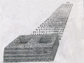 Type II.1c. Quadrate array of pillars with appended edifice (larger example); a reconstruction of the basal structural elements. View from the west (drawn by Kleo Belay)