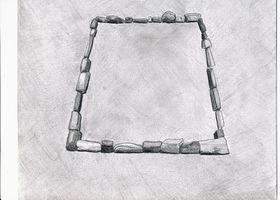 Type II.2a. Single-course quadrate enclosure composed of upright blocky stones; a reconstruction of the basal structural elements (drawn by Kleo Belay)