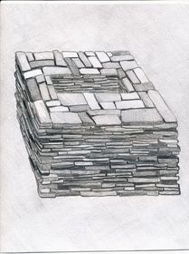 Type II.3. Cubic mountaintop tomb; a reconstruction of the basal structural elements (drawn by Kleo Belay)
