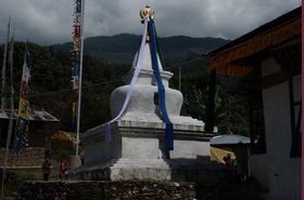 Stupa decorated for the Tsechu festival