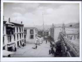 South side of Barkor facing east, with Labrang Nyingpa to the left. Copyright Pitt Rivers Museum, University of Oxford 1999.23.1.43.2