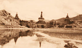 Chortens at entrance to Lhasa from West