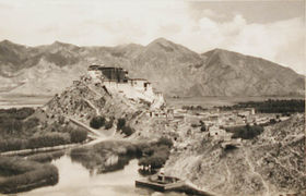 South front of Potala Palace from the west.