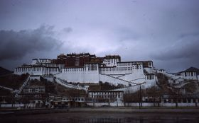 The south (front) face of the Potala and Zhöl Village.