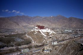 The south (front) face of the Potala and Zhöl Village from the southwest.